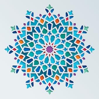 아름 다운 화려한 아랍어 기하학적 장식 라운드 패턴
