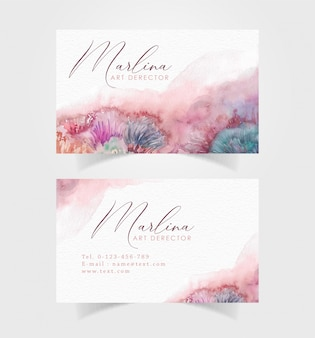 Beautiful colorful brushes watercolor on business card template