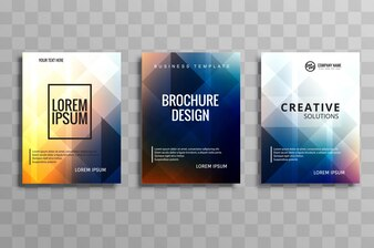 Beautiful colorful business brochure template set