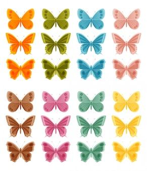 白い背景の上の美しいカラフルな蝶。図