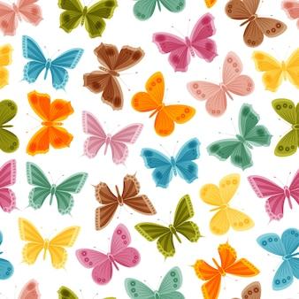 Красивые красочные бабочки на белом фоне. бесшовные модели. иллюстрация