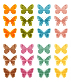 Beautiful colorful butterflies  on white background.  illustration