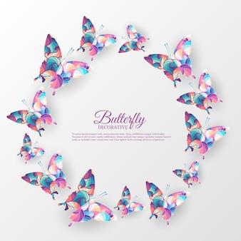 美しいカラフルな蝶の背景の概念。イラストテンプレート