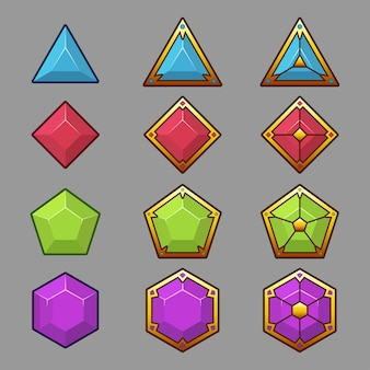 Beautiful colorful buttons with light border. vector assets for game. decorative gui elements, isolated