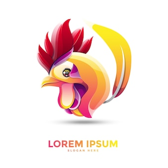 Beautiful colorful chicken logo template