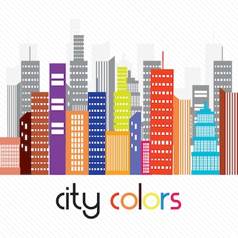 Beautiful colorful city on white background vector illustration