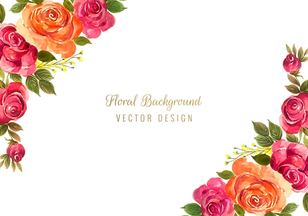 Beautiful colorful decorative wedding floral frame background
