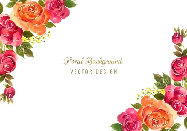 Красивая красочная декоративная свадебная цветочная рамка