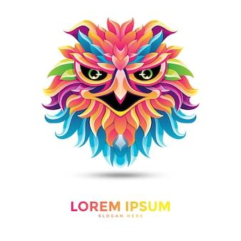 Дизайн шаблона логотипа красивый красочный орел