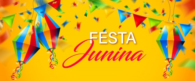 Beautiful colorful festa junina background