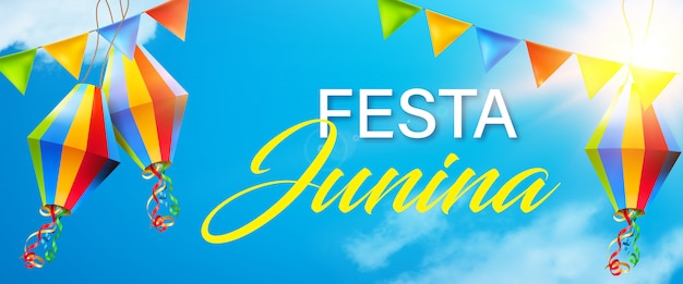 Beautiful and colorful festa junina elements on sunny blue sky background