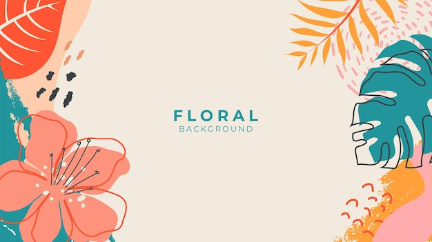 Beautiful colorful floral background with tropical leaves, brush texture and flowers