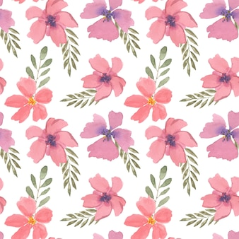 Beautiful colorful floral watercolor seamless pattern