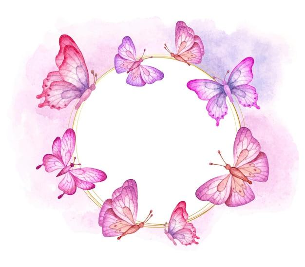 美しいカラフルな空飛ぶ蝶のバレンタインカード