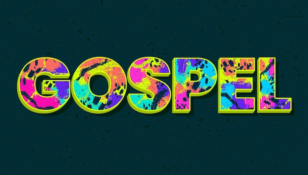Beautiful colorful gospel word