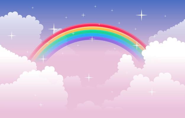 美しいカラフルな虹雲空自然イラスト
