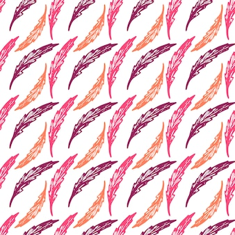 Beautiful colorful seamless pattern with elegant feathers or leaves - hand drawn vector
