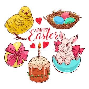토끼, 닭고기, 케이크 및 기타 부활절 기호의 아름다운 다채로운 세트. 손으로 그린 그림