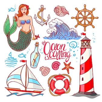 マリンをテーマにした美しいカラフルなセット。人魚と灯台。手描きイラスト