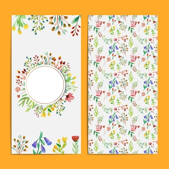 Beautiful and colorful watercolor wild flower wedding card set template