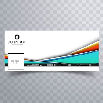 Beautiful colorful wave facebook timeline banner vector