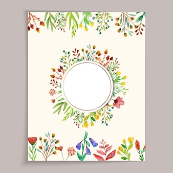 Beautiful and colorful wild flower wedding card with watercolor