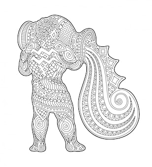 Beautiful coloring book page with strong aquarius