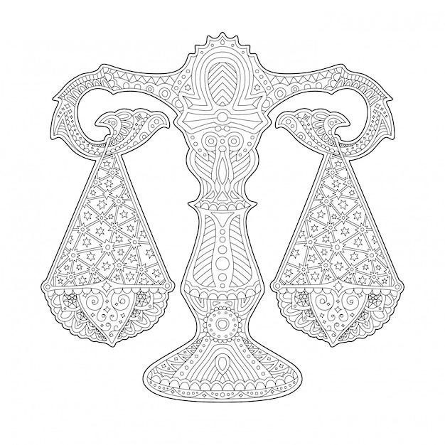 Beautiful coloring book page with stylized scale