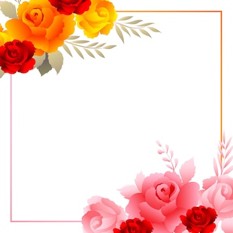 Beautiful composition colorful floral frame card background