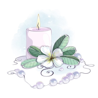 Beautiful composition with a burning candle, white plumeria and scattered pearls.