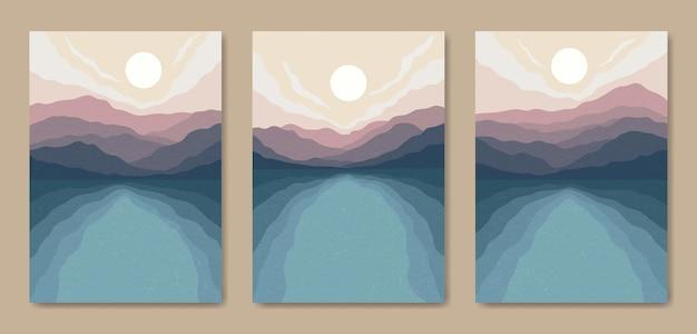 아름다운 현대 미적 최소한의 풍경 포스터 일러스트