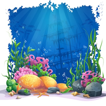 美しい珊瑚と色とりどりのサンゴ礁と砂の上の藻。海の風景のベクトルイラスト。