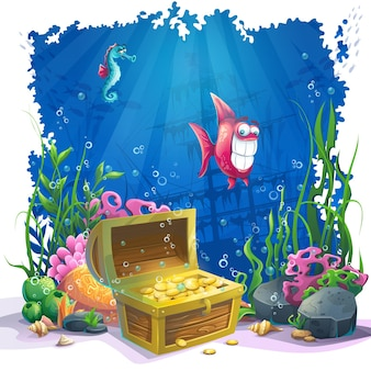 Beautiful coral and colorful reefs, fish and gold chest on sand. vector illustration of sea landscape.