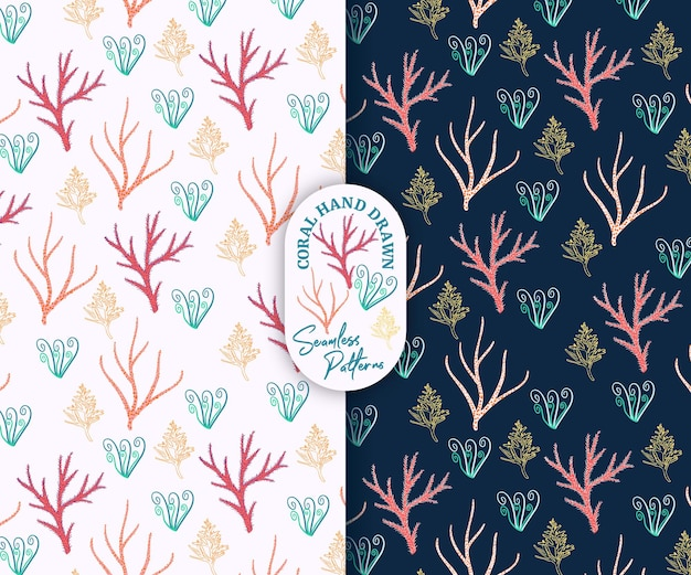ピンクとネイビーのシームレスなパターンで美しい珊瑚の手描きスタイル