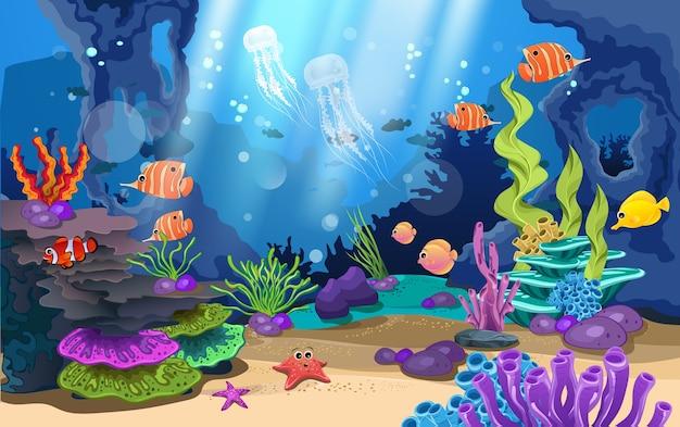 아름다운 산호초와 바다에서 물고기