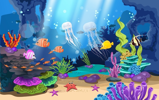 Beautiful coral reefs and fish in the sea