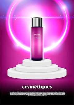 Beautiful cosmetic ads template, pink serum