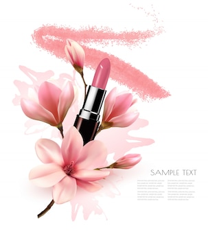 Beautiful cosmetic background with lipstick and flowers.