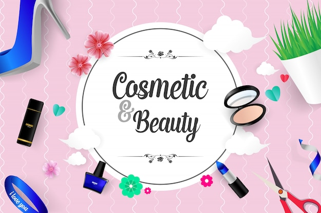 Beautiful cosmetic and beauty