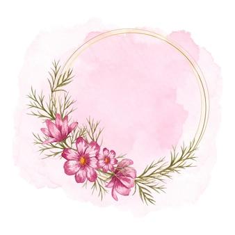 ピンクのスプラッシュと美しいコスモスフラワーフレーム