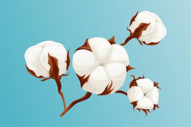 青い背景の美しい綿の枝