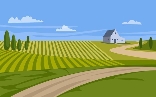Красивый сельский пейзаж с фермерским домом