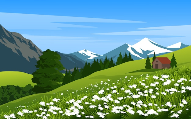 Beautiful countryside at mountain