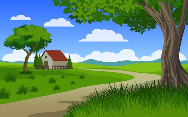 Beautiful countryside scenery with house