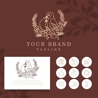 Красивые пары птицы, элегантная линия арт логотип, редактируемый шаблон