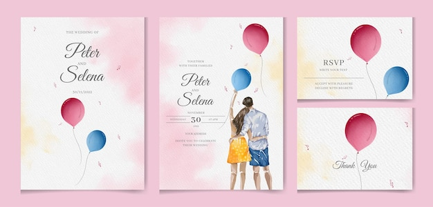 Beautiful couple holding balloon in hand watercolor hand drawn wedding invitation set