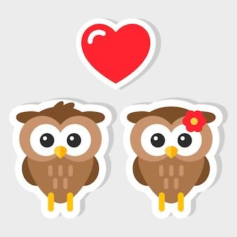 フクロウの美しいカップルのデザインイラスト