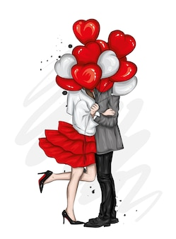 Beautiful couple with balloons hearts