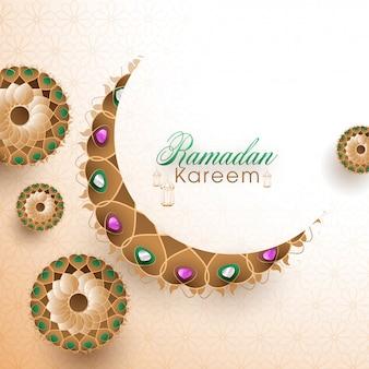 宝石とアラビア語の花柄で飾られた美しい三日月の黄金の月。イスラムの聖なる月