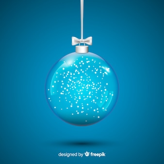 Beautiful crystal christmas ball on blue background